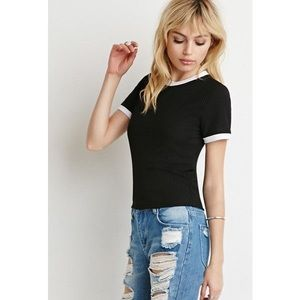 Forever 21 Tops - Forever 21 Ribbed Knit Ringer Tee 8A